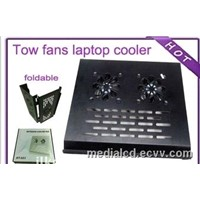 Tow Fans Metal PC Cooler for Notebook Laptop