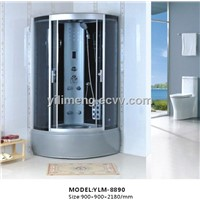 YLM-8890 Grey ABS Shower Room Steam Room with Black Back Glass