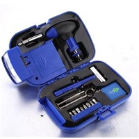 household hand tool set with flashlight and torch