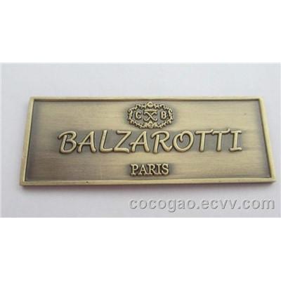 Brass Logo Antique Metal Furniture Logo Vintage Embossed Logo Brass Badge Cq1010 China
