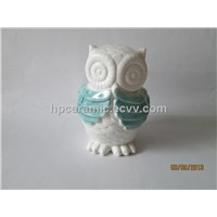 "Ceramic Owl With Green Painting Effect""I don't want to talk"""
