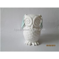 "Ceramic Owl With Green Painting""I dont want to listen"""