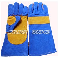 Double palm AB grade leather welding safety glove