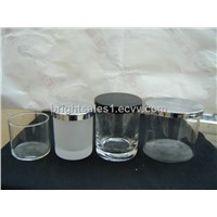 votive candle holder, glass candle holder(blown), jar with metal lid