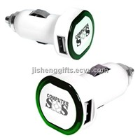 Fashion circle shape with LED ring dual auto/car charger