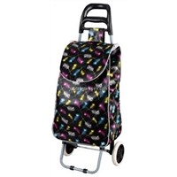 Folding Oxford Shopping Cart with White and Black Dots Print BHT-014
