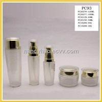 Lady's skincare glass bottles and jars
