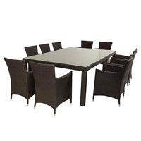 Outdoor Patio Wicker Furniture 7pc Modern Dining Set