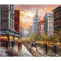 Scenes of street oil painting