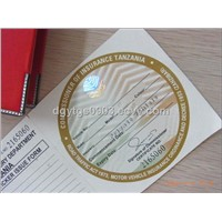 security ticket with hot stamping hologram