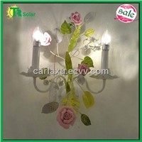wrought iron flower wall lamp