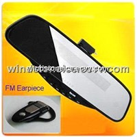 Car Handsfree Rearview Chargeable Battery FM earpiece