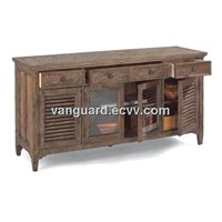 OAK Wooden/Veneer/Metal Entertainment Base Media Cabinet