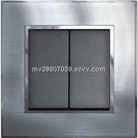 3*3 Satin Silver Switch 2G2W, CE approved, for hotel