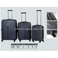 Black PP Injection Trolley Zipper Business Hard Shell Case Set With TSA Lock and Twin Wheel