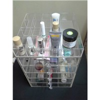 Clear Makeup Stand Plexiglass Cosmetic Organizer 5 Drawers Plus 17 Compartments Tray