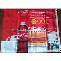 Dye sublimation print on nylon polyester banner with heming and sewing