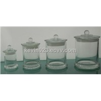 Glass candle holder with glass lid glass jars storage jars