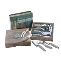 New Deluxe 5 Pieces Garden Hand Tool Set Kit Paulownia Wooden Gift Box