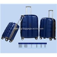 S.Blue Graceful Carry-on PP Injection Zipper Trolley Hard Shell Case with Double Wheels and TSA Lock