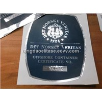 screen printed adhesive aluminum foil sticker with anti-fading color and stamped numbers
