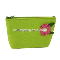 Felt Cosmetic Bag,Small Cute Cosmetic Bag W/Flower on the Bag