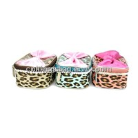 Leopard Pattern Cosmetic Case with Bowknote Ornament at the Top,Small Cute Vanity Case to Ladies