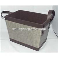 Portable hand-held fabric storage box
