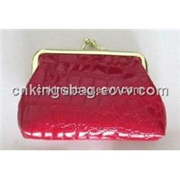 Red Color Stone Pattern Kiss Lock Frame Clip Coin Purse