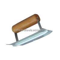 Corner trowel with wooden handle