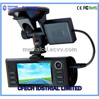 "Dual Camera Car DVR FULL  HD 2.7"" Screen GPS G-Sensor Two Lens Vehicle Blackbox"