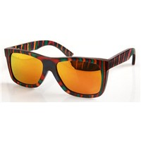 First Classes Skateboard Wood Sunglasses, Hand-Made,Polarized Lens Coated Gold Color,Eco-80027