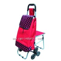 Foldable Shopping Trolley with 3/3 Upstairs Wheels
