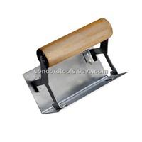 Internal corner trowel with wooden handle