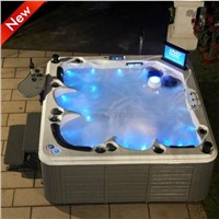 Luxury 5 person LCD TV spa with 7 color light whirlpool bathtub waterfall