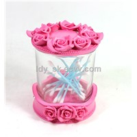 Poly & Glass, cotton swabs box/Rose