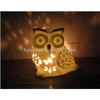 White Ceramic Glowing Owl Candle Holder, Tealight Holder