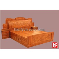 Chinese Antique Hand Carved Bedroom Furniture Solid Wood Bed