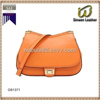 boat shape leather handbag lady shoulder bag