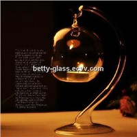 Fashion Creative Glass Home Decoration Clear Glass Ball Candle Stand