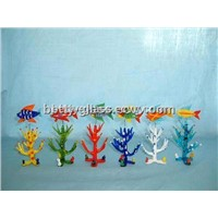 Glass Material Coral and Seafish Glass Fishbowl Decoration