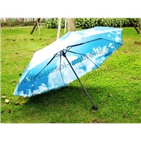 "21"" Heat Transfer Printing Blue Sky with Clouds Three Folded Umbrella"