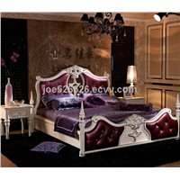 Arabic Style Home Furniture Genuine Leather Bed (806)