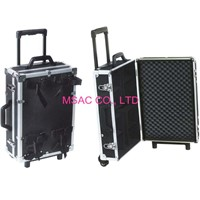 Black 5 MM MDF Aluminum Carrying Cases / Equipment Cases With Trolley