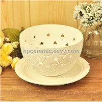 Ceramic Tea Light Holder with Heart Shape Cutting