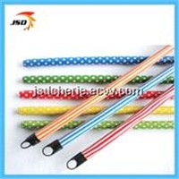 Colorful cleaning wooden broom handle