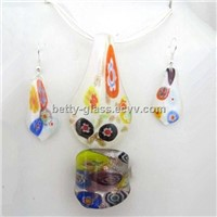 Fashion Women Ornaments Ring Eardrop Necklace Glazed Glass Jewelry Set