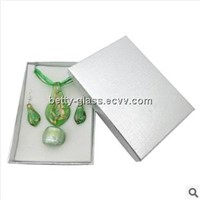 Glazed Glass Necklace Pendant Glass Jewelry Set Eardrop, Ring, Necklace