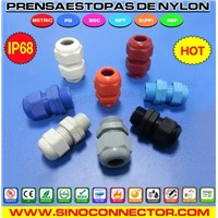IP68 Liquid-tight Nylon Cable Glands Cord Grips with PG / Metric Threads