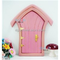 QW60480 Doll house Fairy Mini Doors Wood Painted Exterior Door With Hardware